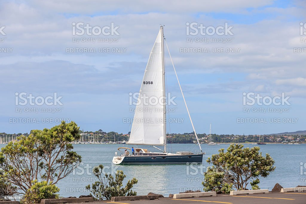 Auckland, New Zealand- December 10, 2013. Sailing boat. stock photo