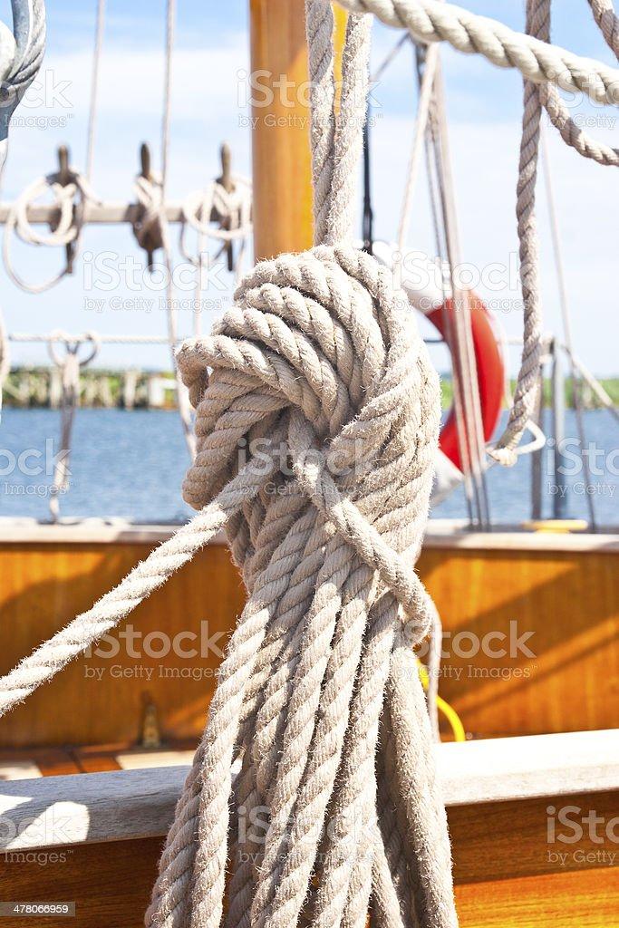 Sailing boat ropes royalty-free stock photo
