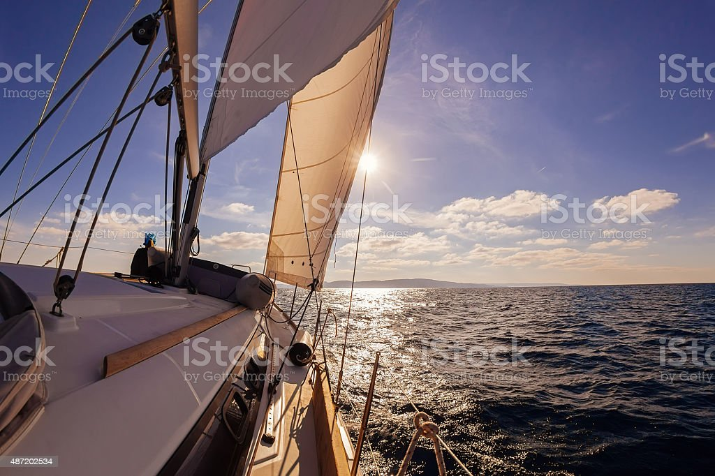 Sailing boat wide angle view in the sea stock photo