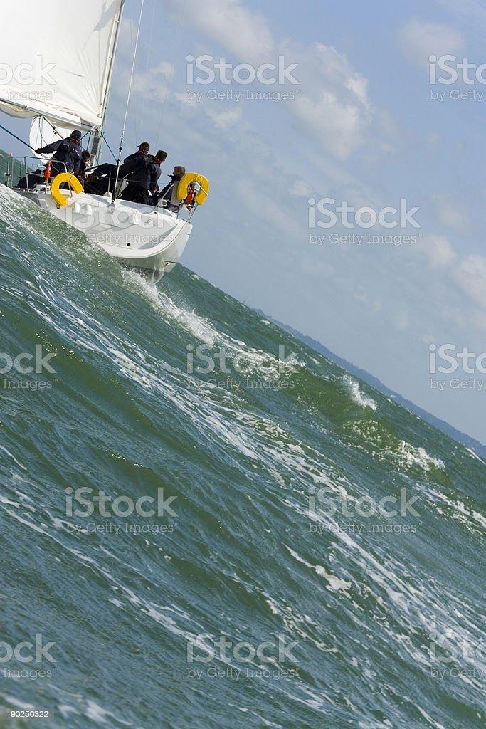 Sailing Boat Yacht On Steep Stormy Seas royalty-free stock photo