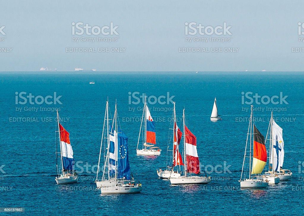 Sailing boat yacht regatta, Malta stock photo