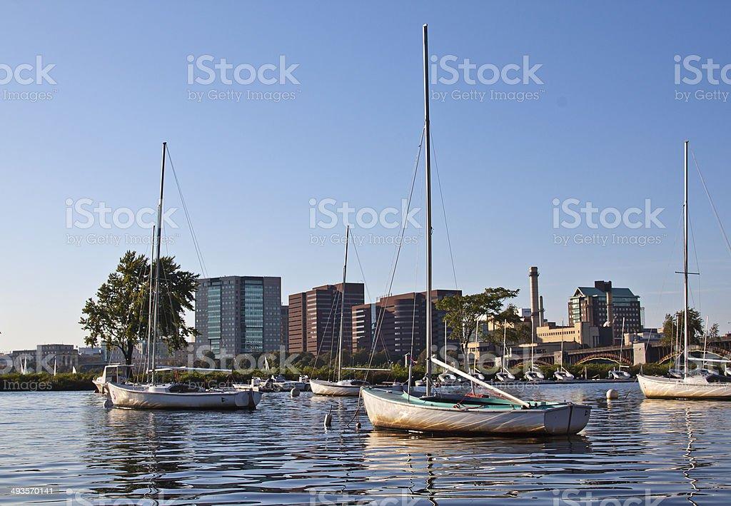 Sailing boats at Charles river, Boston, MA royalty-free stock photo