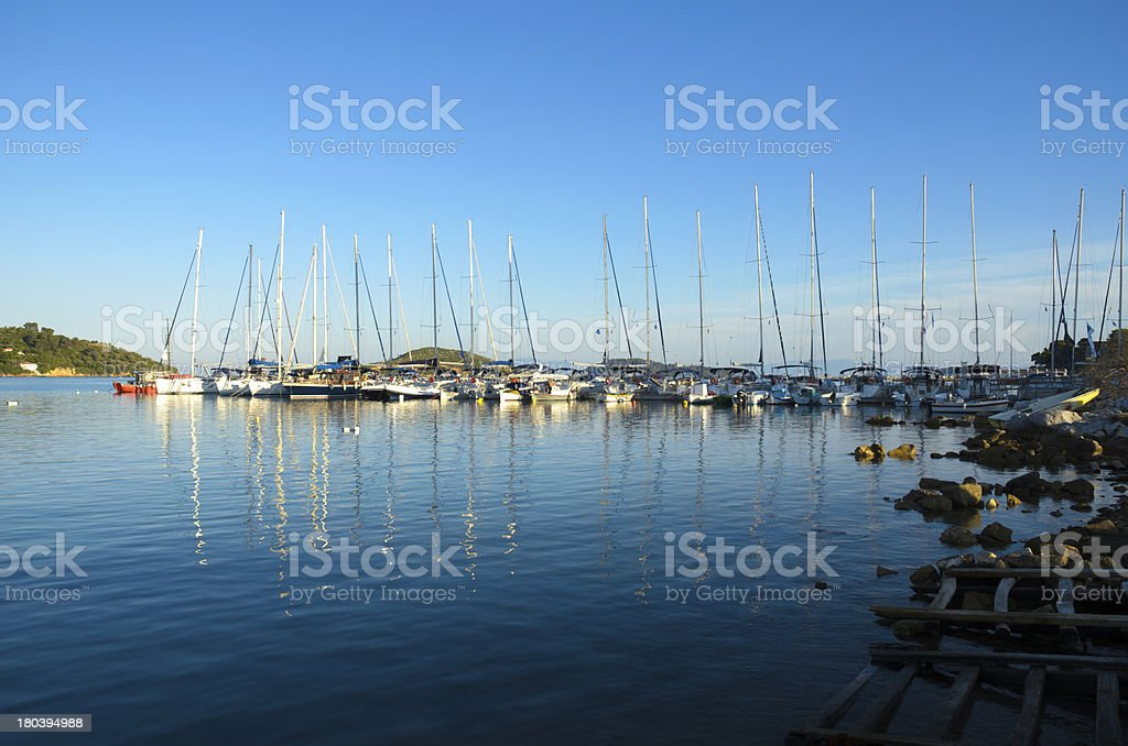 Sailing boats in greek marine royalty-free stock photo