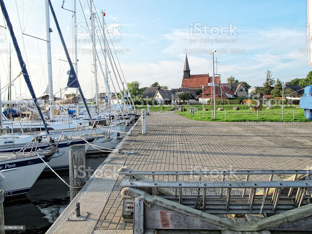 Sailing boats in harbor of Schaprod at Rugen island stock photo