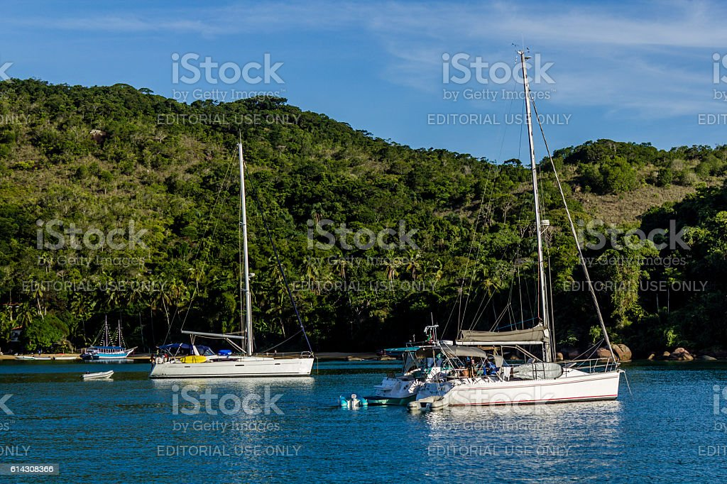 Sailing boats in Ilha Grande stock photo