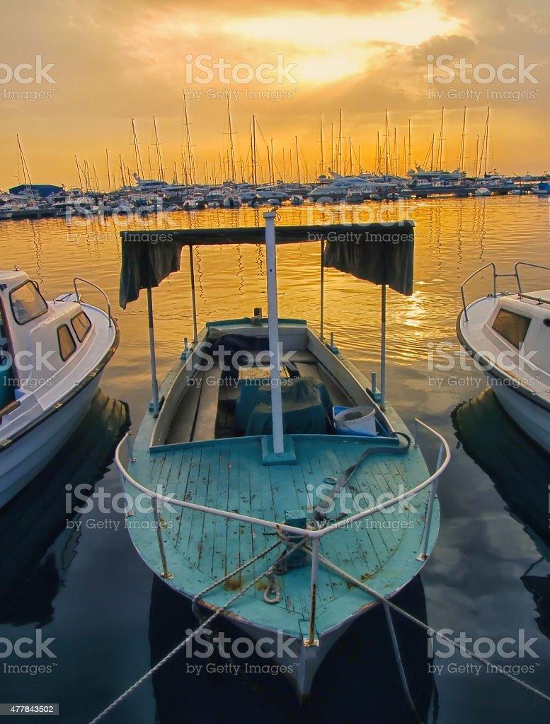 Sailing boats in marina stock photo