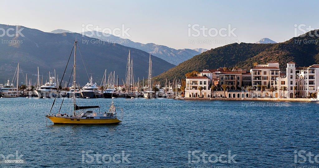 Sailing boats in marina. Tivat. Montenegro stock photo