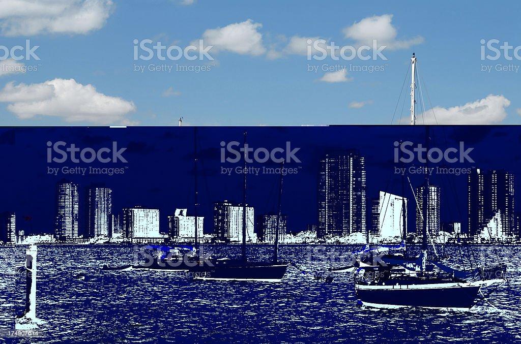 sailing boats in miami stock photo