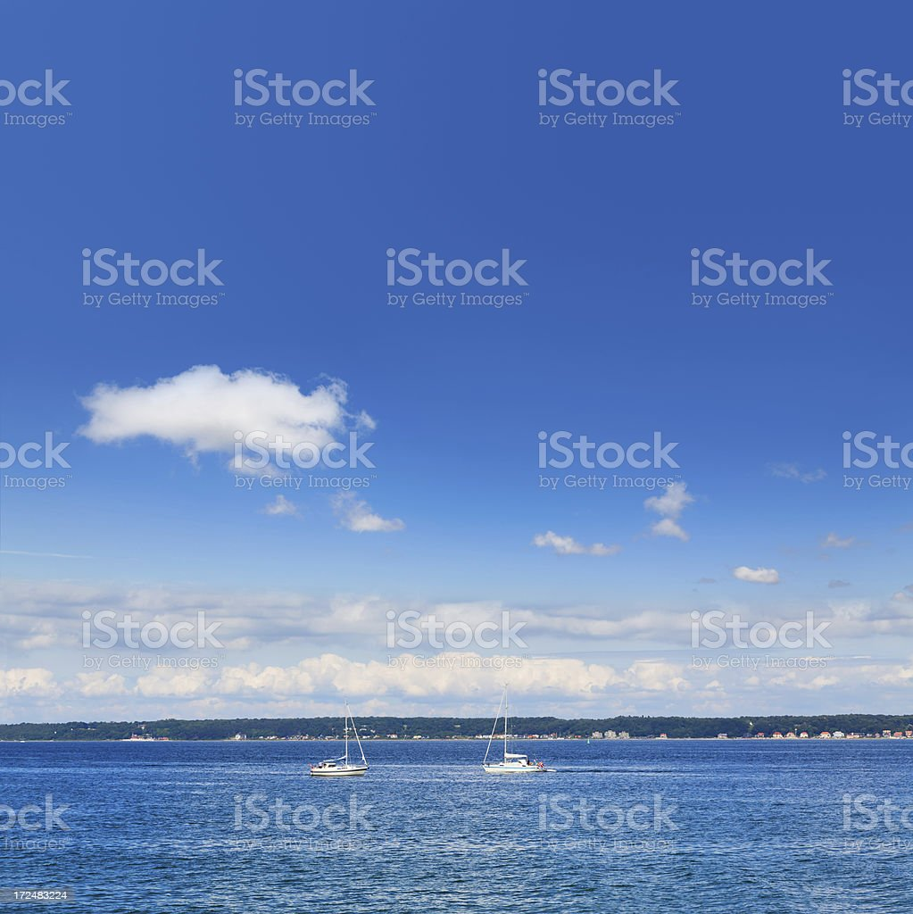 Sailing boats in The Sound strait stock photo