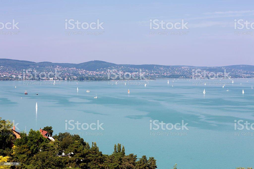 Sailing boats on Lake Balaton at Tihany in Hungary stock photo