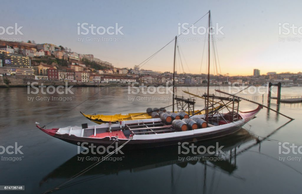Sailing boats on the river in the city stock photo