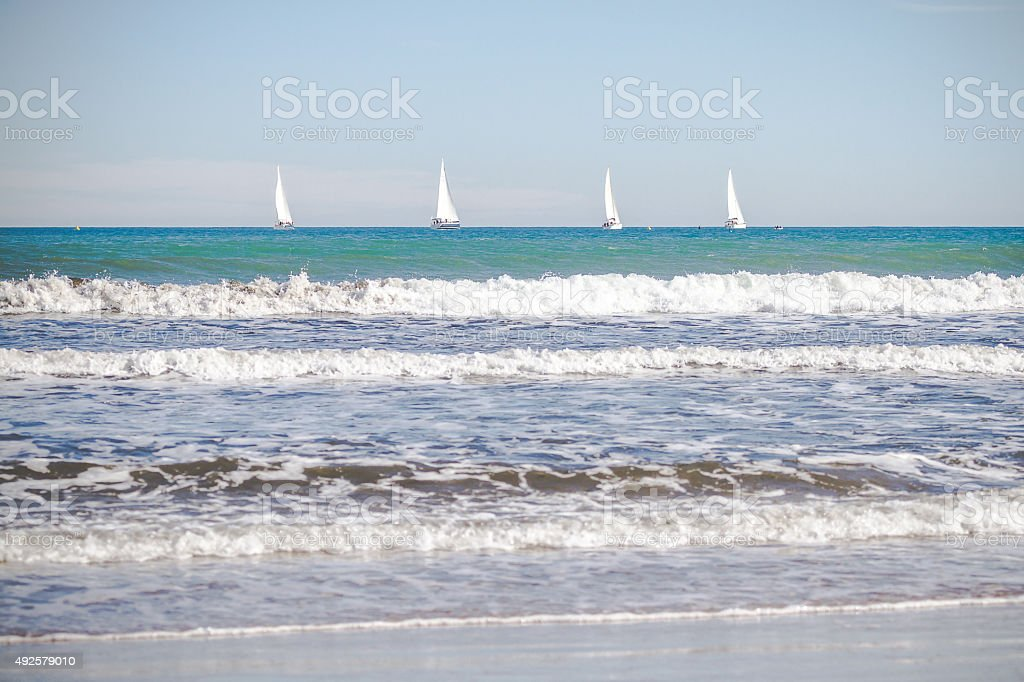 Sailing boats on the sea stock photo