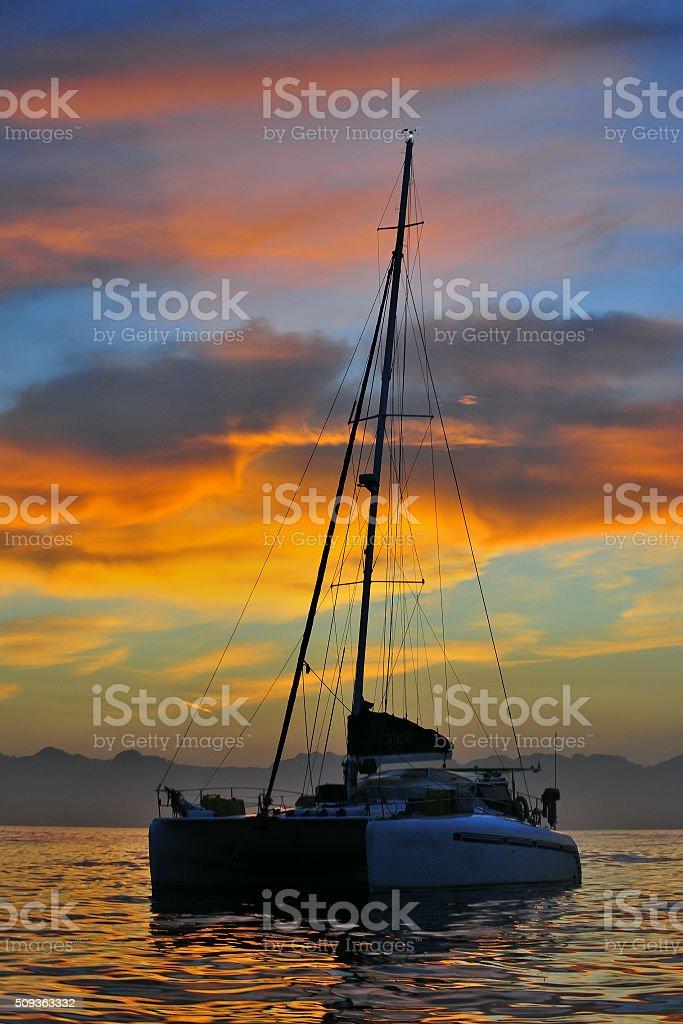 Sailing catamaran at sunrise. stock photo