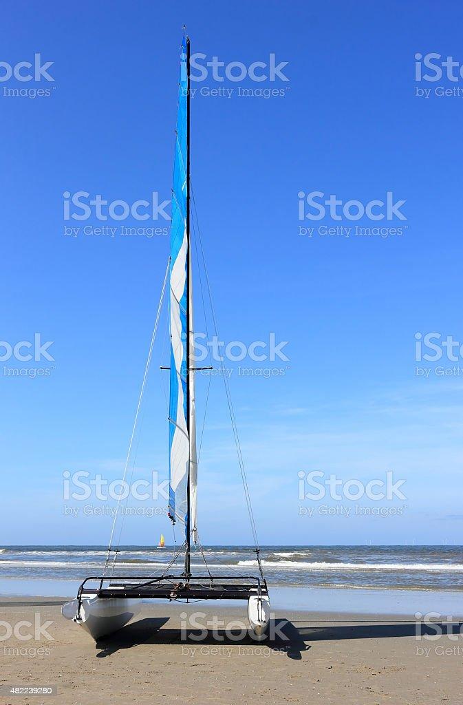 Sailing catamaran. Egmond aan Zee. North Sea, the Netherlands. stock photo