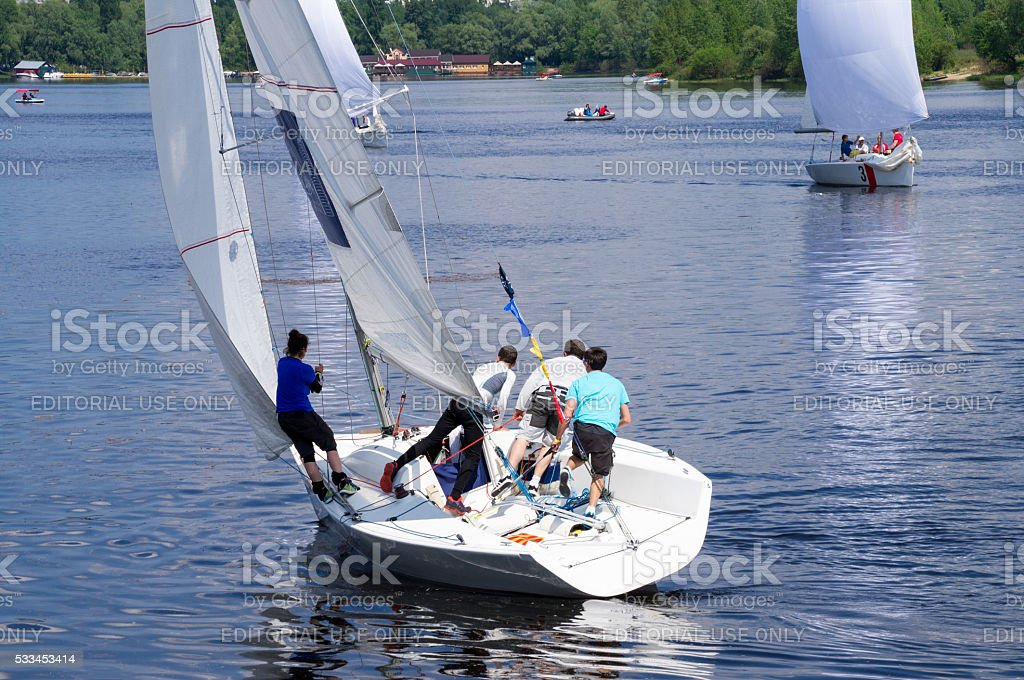 Sailing Crew Hard Work stock photo
