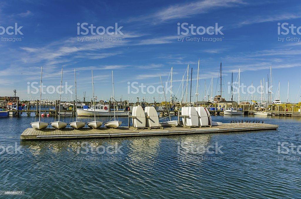 Sailing Dinghies on a Floating Pontoon royalty-free stock photo