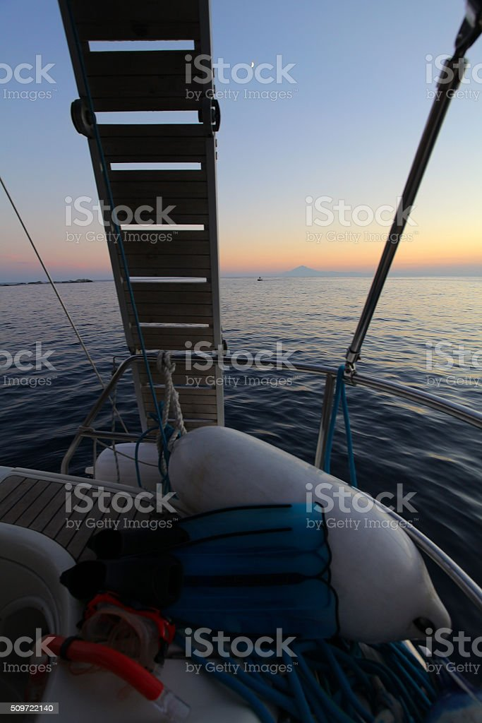 Sailing end of day stock photo