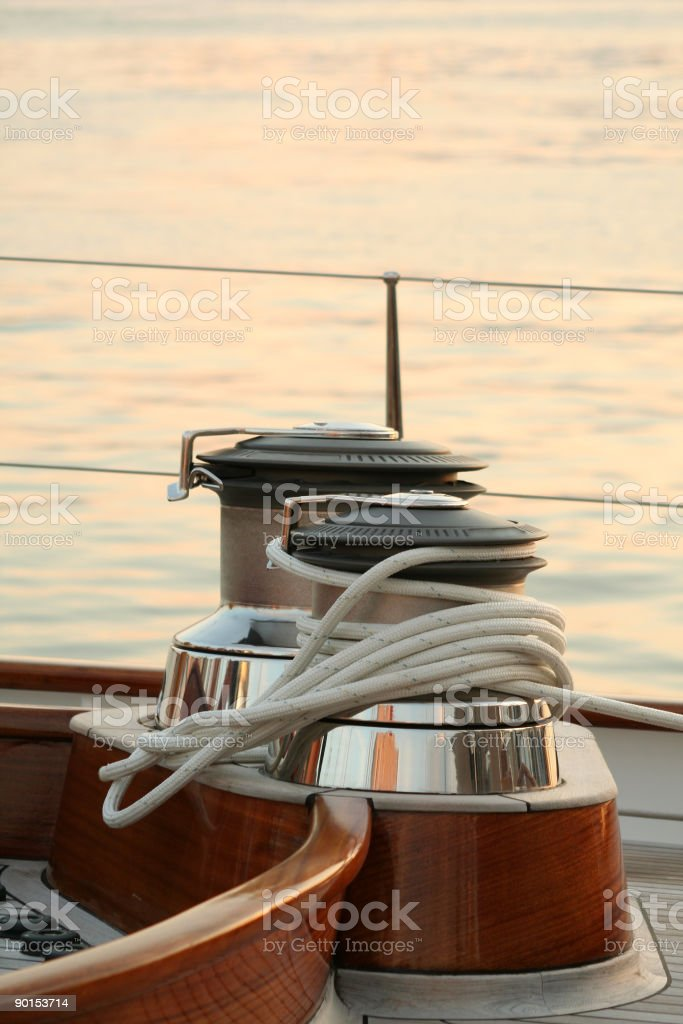Sailing equipment on the boat deck stock photo
