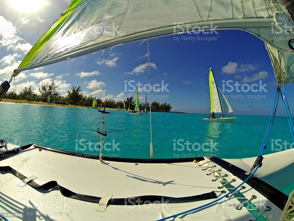 Sailing Hobie Cats in the Bahamas stock photo