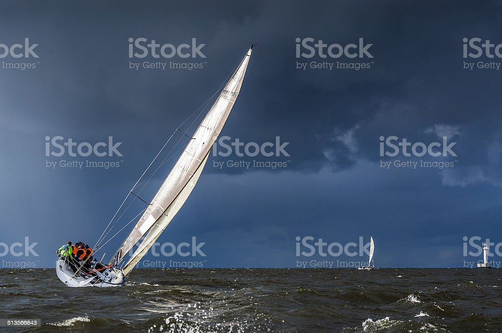 Sailing in a gale stock photo