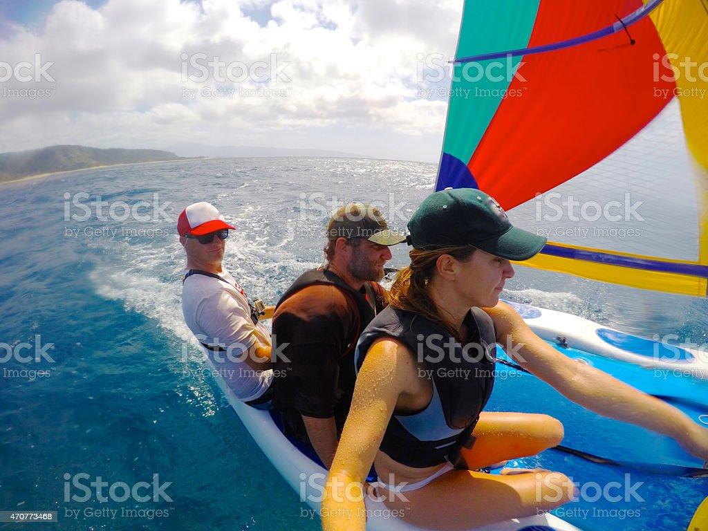 Sailing in a Hobie Cat in Hawaii stock photo