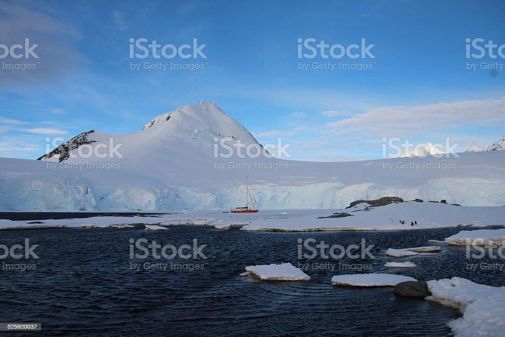 Sailing in Antarctica, Port Lockroy stock photo