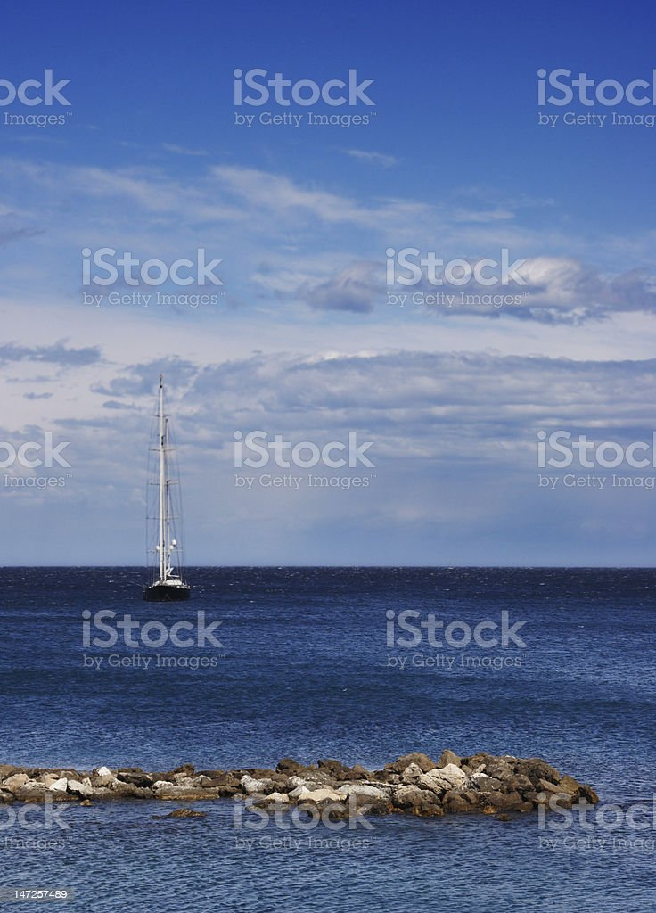 Sailing in Antibe stock photo