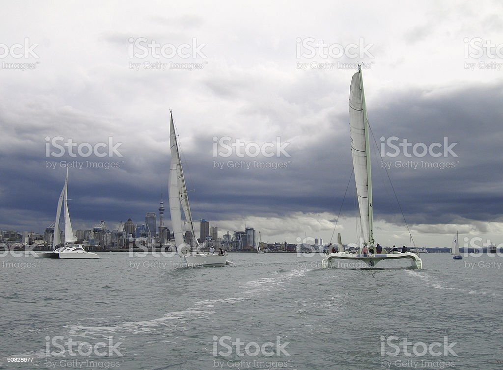 Sailing in auckland on a cloudy day stock photo