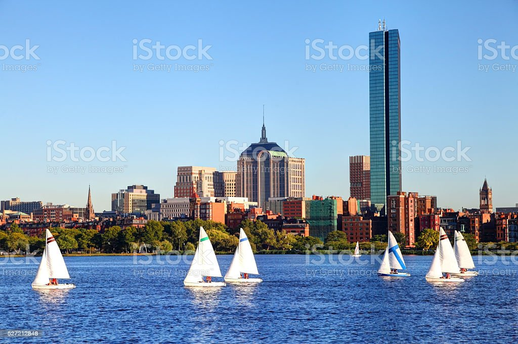 Sailing in Boston on the Charles River stock photo