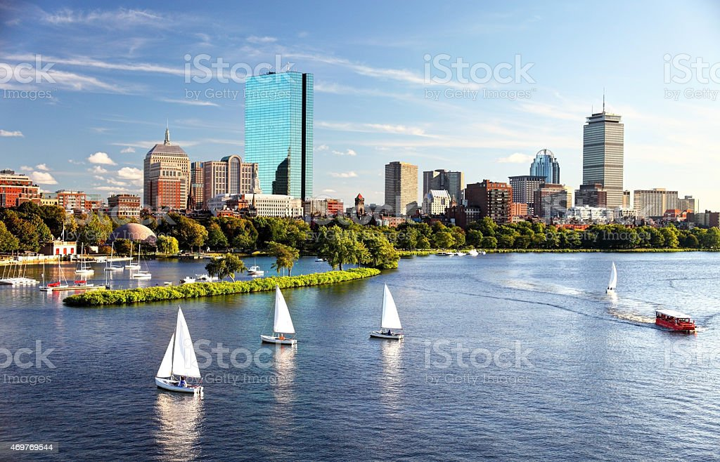 Sailing in Boston stock photo