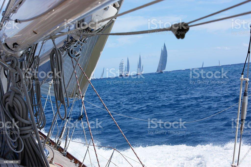 Sailing in Caribbean stock photo