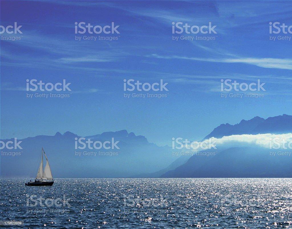 Sailing in Lake Geneva stock photo