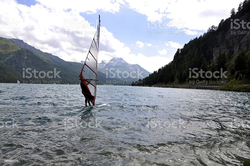 Sailing In Lake Silvaplana Switzerland stock photo