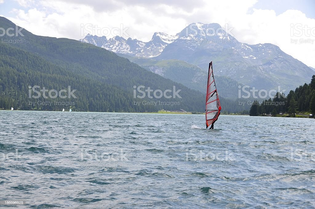 Sailing In Lake Silvaplana Switzerland stock photo