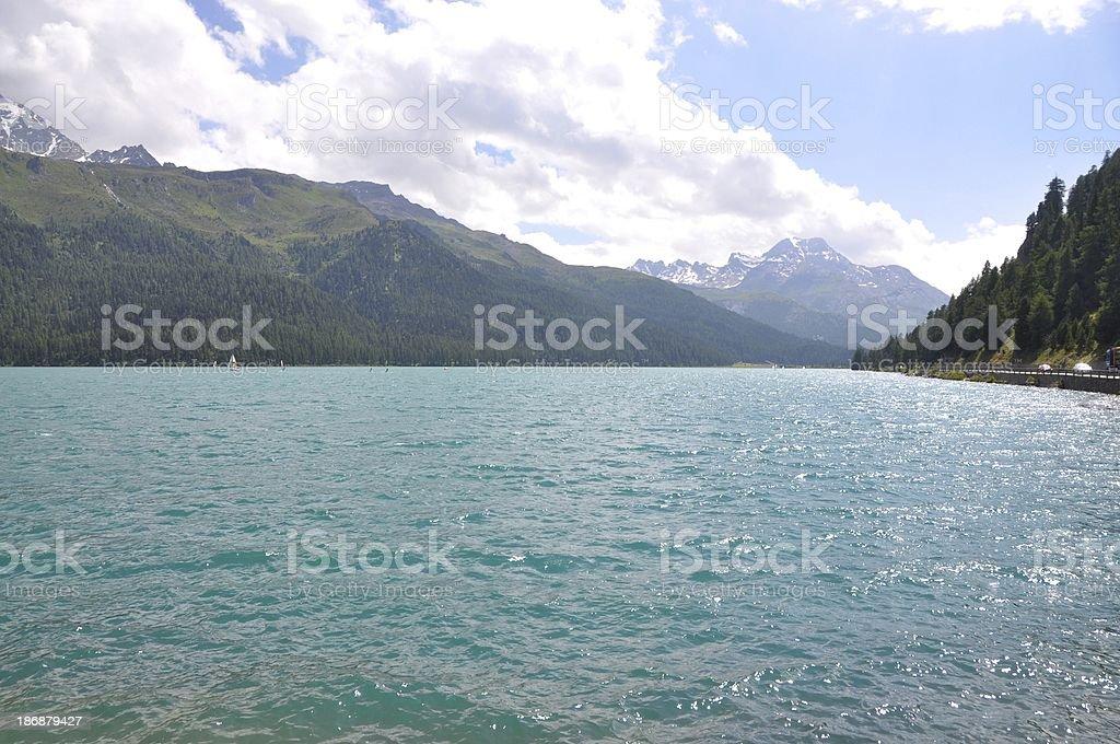 Sailing In Lake Silvaplana Switzerland royalty-free stock photo