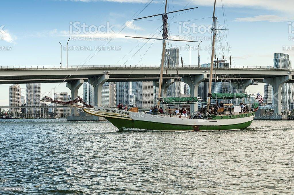 Sailing in Miami stock photo