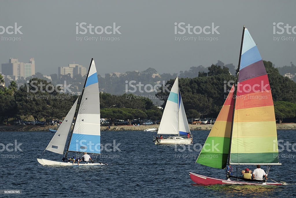 Sailing in Mission Bay 2 stock photo