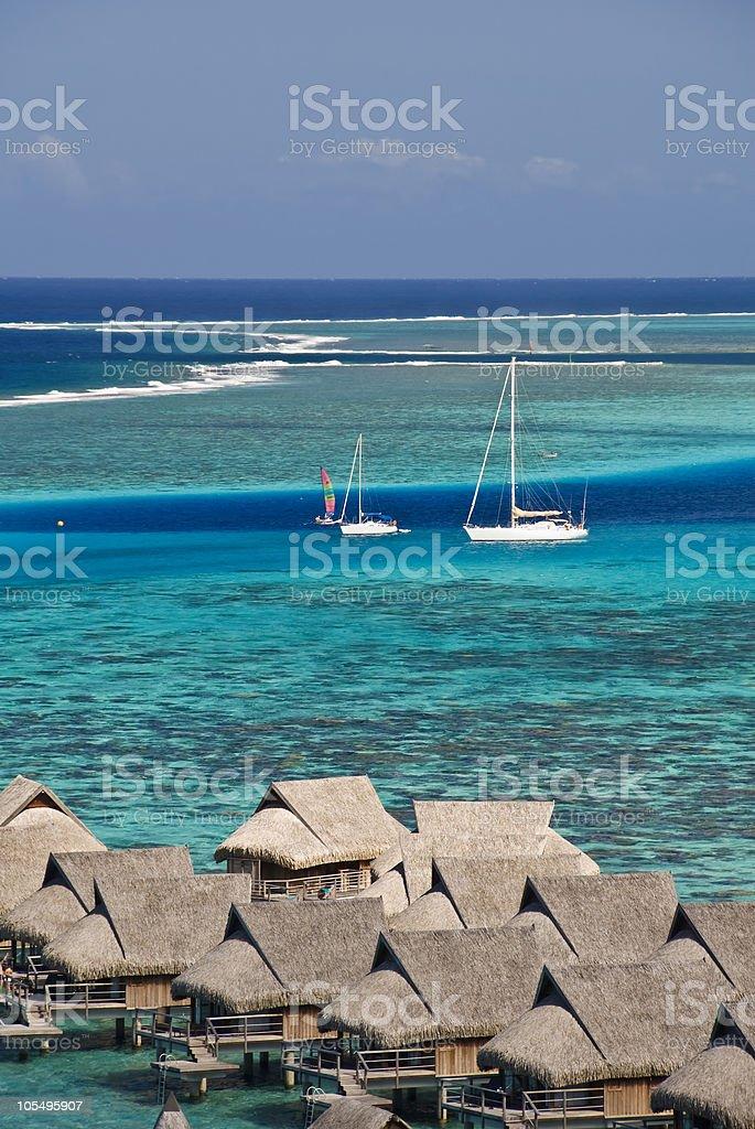 Sailing in Moorea, Polynesia royalty-free stock photo