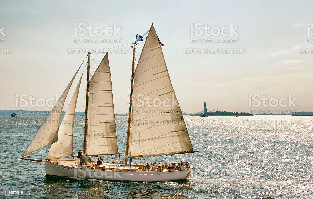 Sailing in New York City Harbour stock photo
