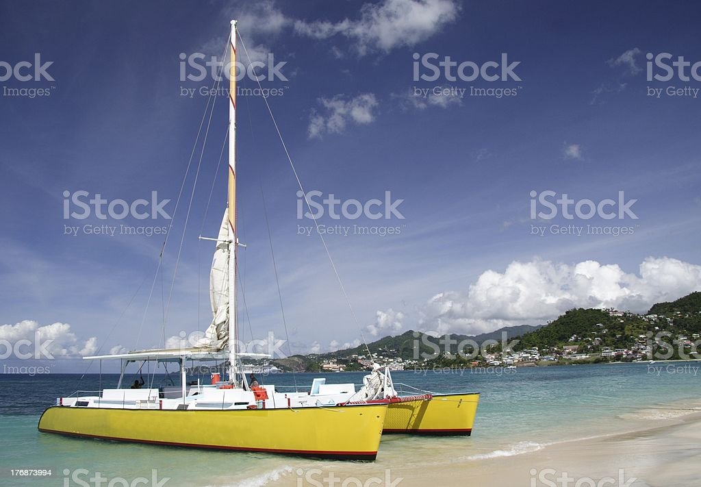 Sailing in paradise stock photo