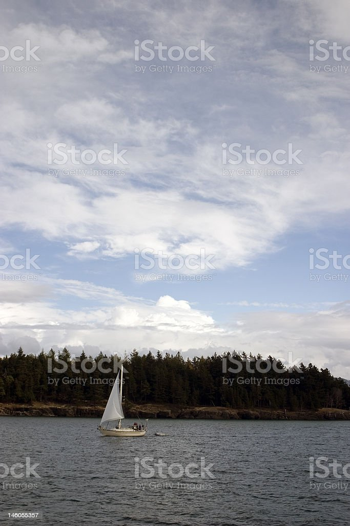 Sailing in Puget Sound stock photo