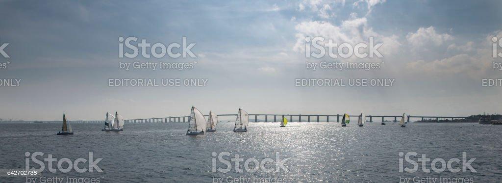 Sailing in Rio de Janeiro - Guanabara Bay stock photo