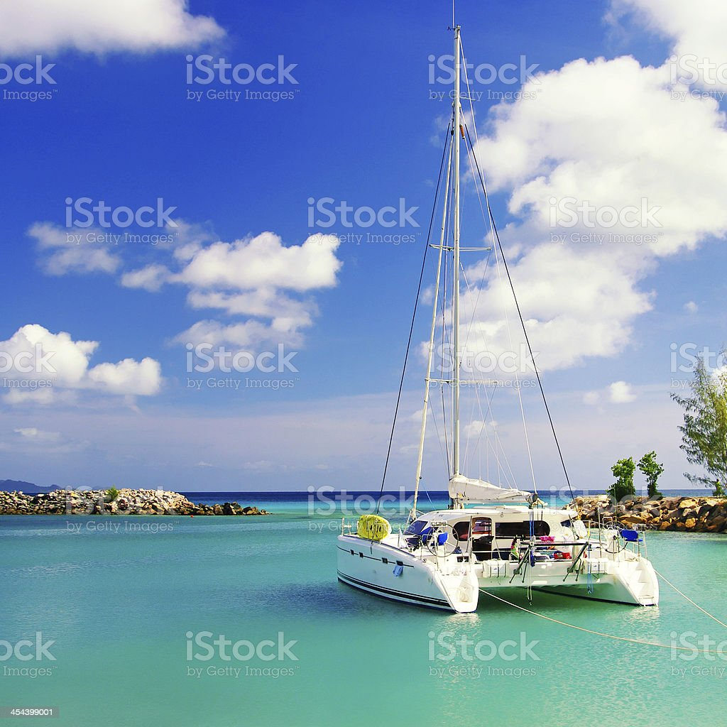 sailing in Seychelles stock photo