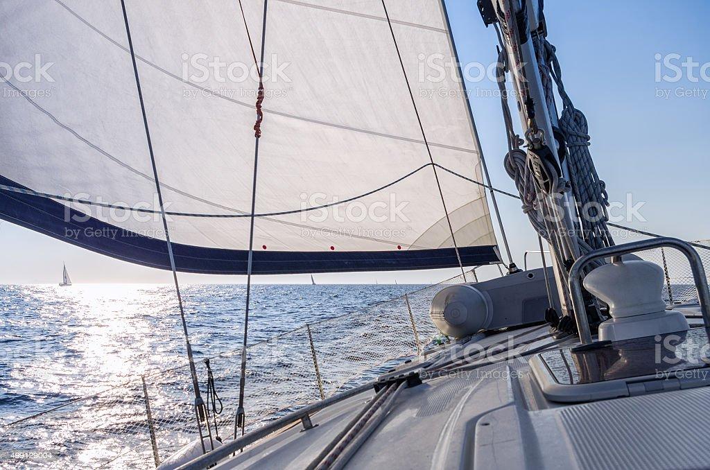 Sailing in the Aegean sea, Greece stock photo