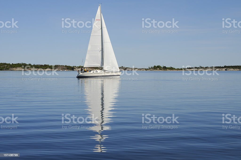 Sailing in the archipelago, no national flag royalty-free stock photo