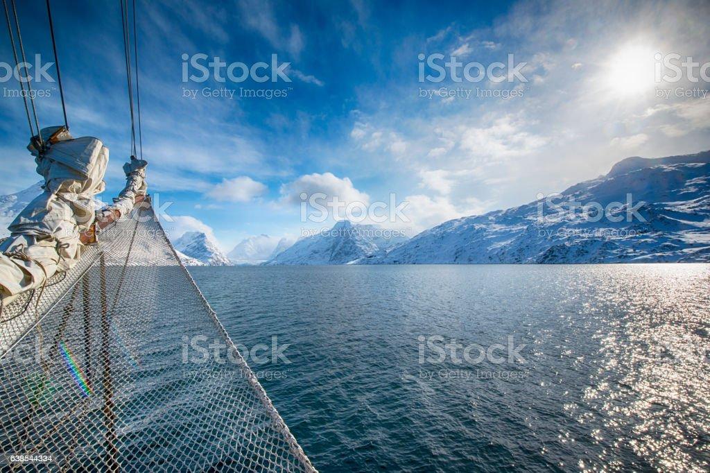 Sailing in the arctic ocean stock photo