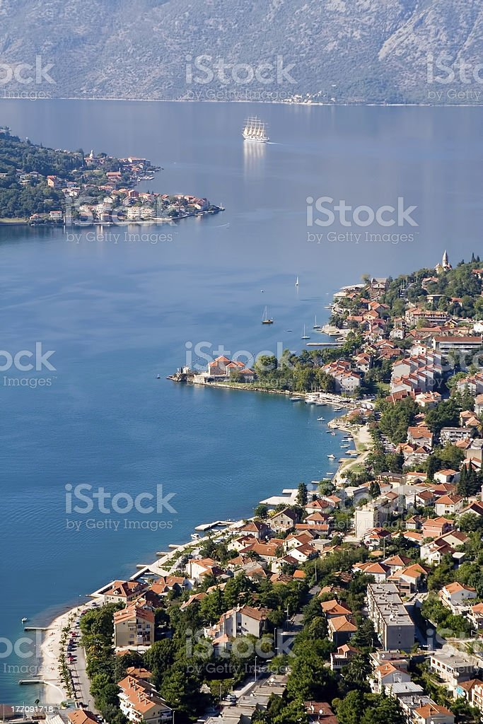 sailing in the Bay of Kotor stock photo