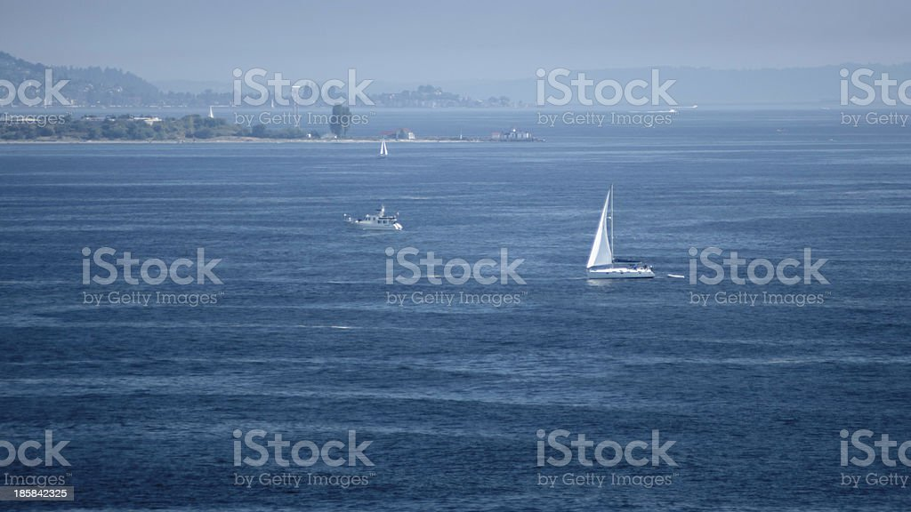 Sailing In The Blue Outside Seattle, WA royalty-free stock photo
