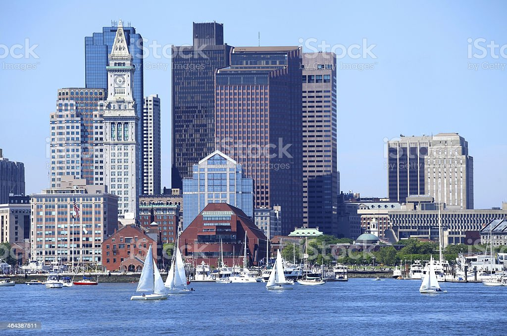 Sailing in the Boston Harbor stock photo