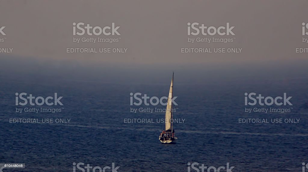 Sailing in the ocean stock photo